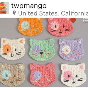 Kitty crochet - use cotton yarn, make them a little larger and they become a child's washcloth! Kitty crochet - use cotton yarn, make them a little larger and they become a child's washcloth!