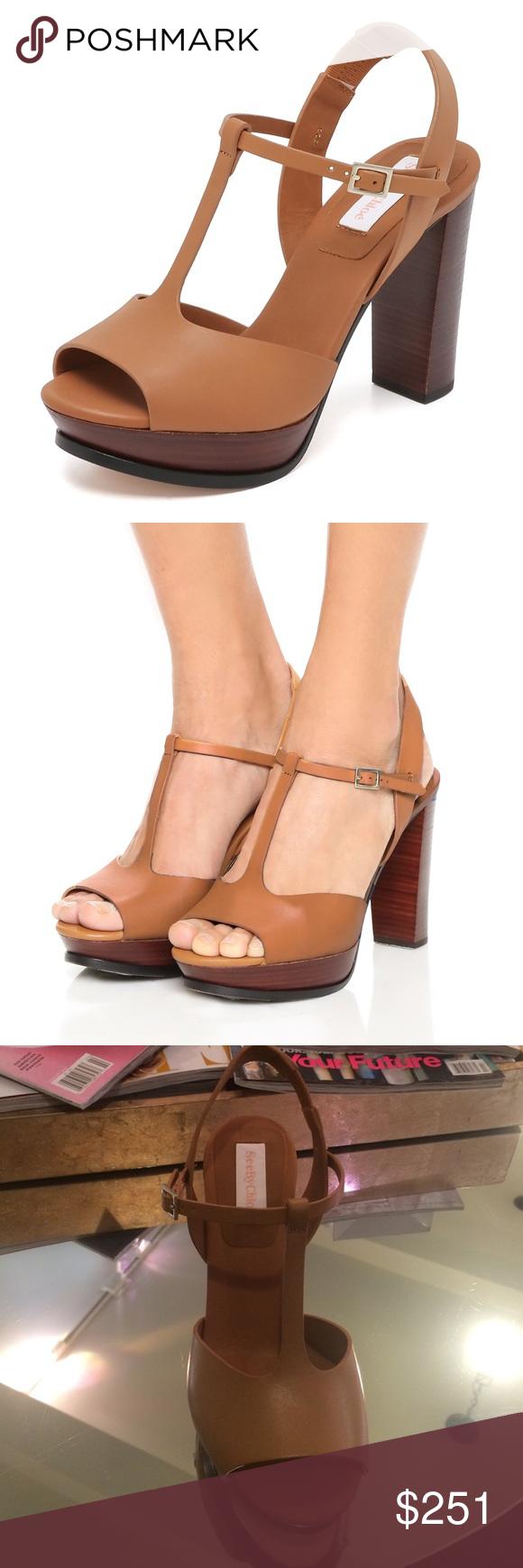568c415a4147 See by Chloe Alex platform Brown leather see by Chloe t strap platforms.  One once platform with 3 1 2 inch heal See by Chloe Shoes Heels