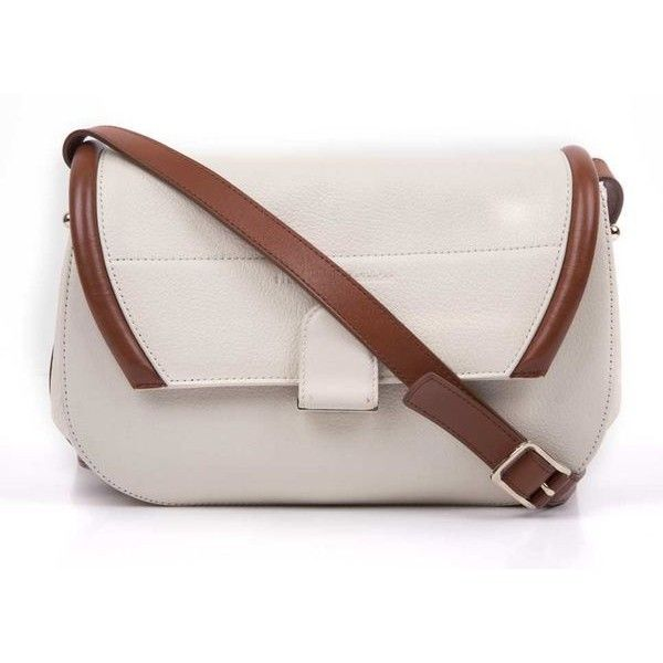 Pre-Owned Proenza Schouler White & Tan Leather Handle Bag ($716) ❤ liked on Polyvore featuring bags, handbags, proenza schouler bag, proenza schouler, proenza schouler handbags and proenza schouler purse