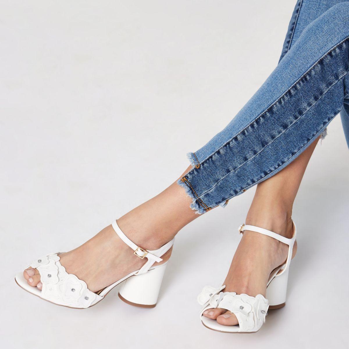 White diamante flower block heel