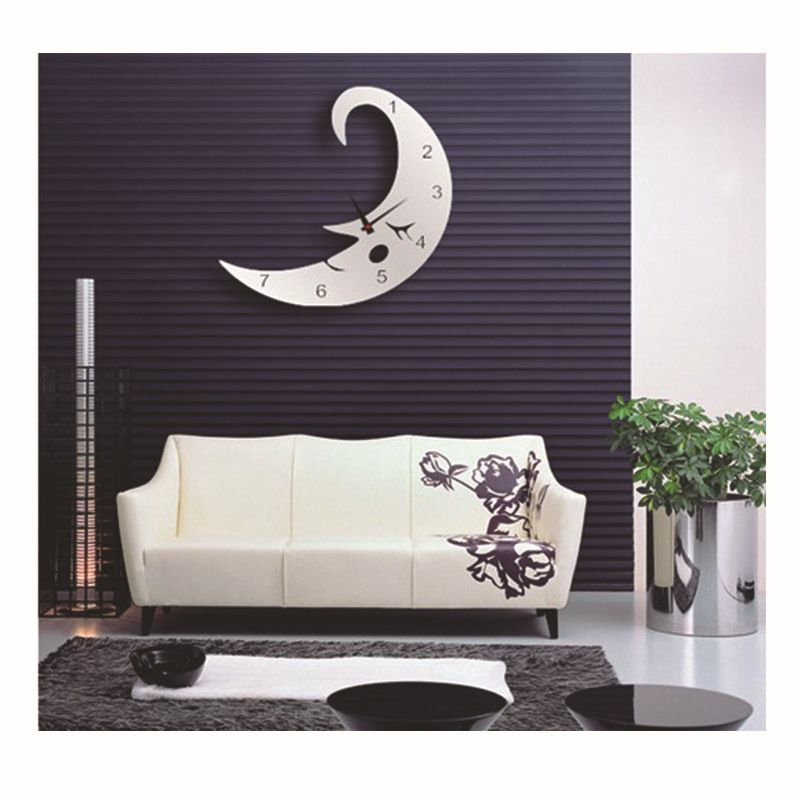 Sticker 3d Parete.Sleeping Moon Mirror Wall Clock Kid S Bedroom Wall Sticker