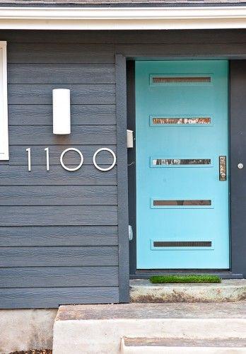 Turquoise Blue And Dusty Purple Work On Mid Century Modern Doors