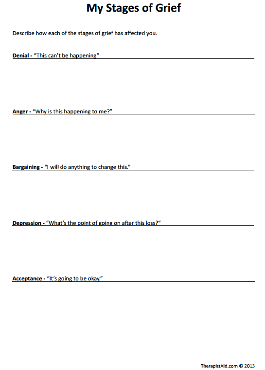 My Stages of Grief (Worksheet | Therapy | Grief, Grief counseling ...