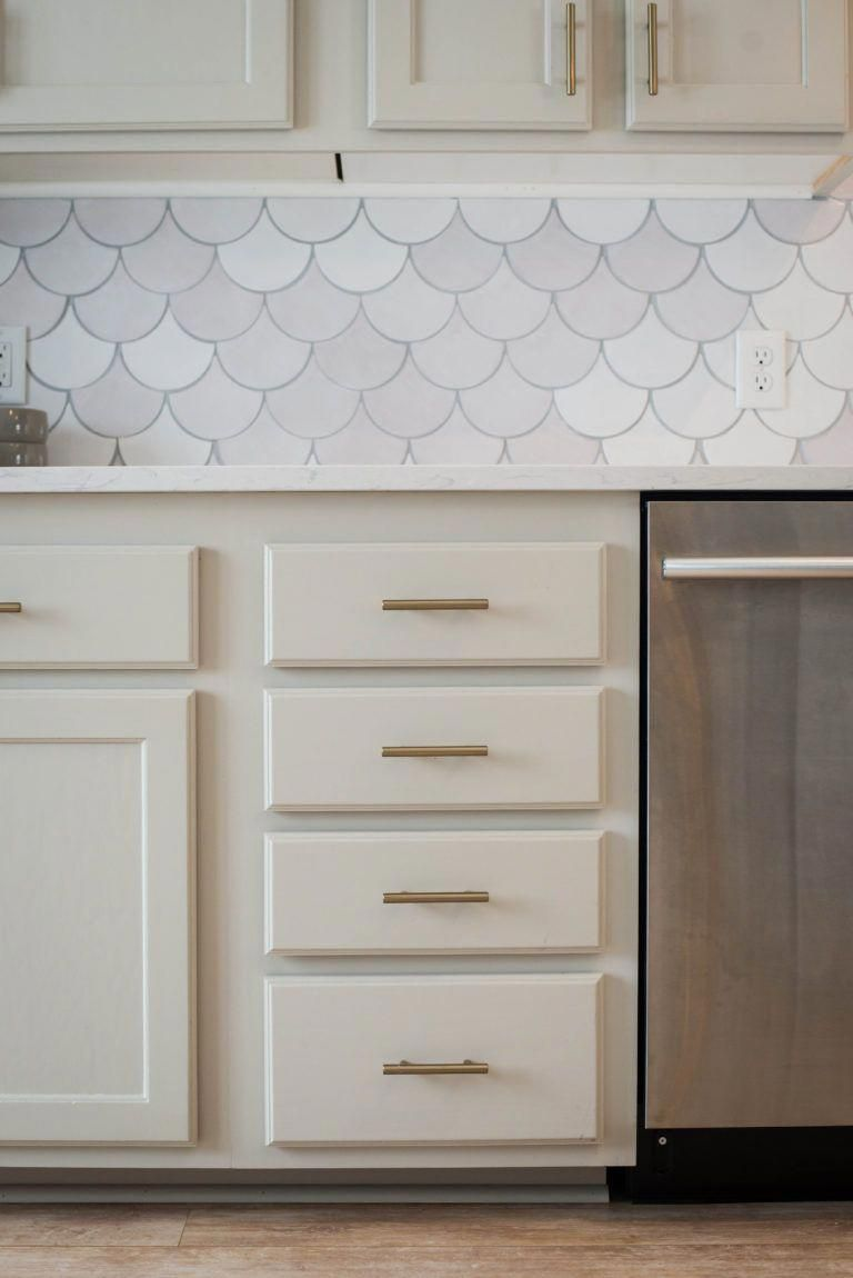 Revere Pewter Kitchen Cabinets Gold Hardware White Moroccan Fish Scale Tile Ba Contemporary Kitchen Remodel Diy Kitchen Renovation Kitchen Inspiration Design