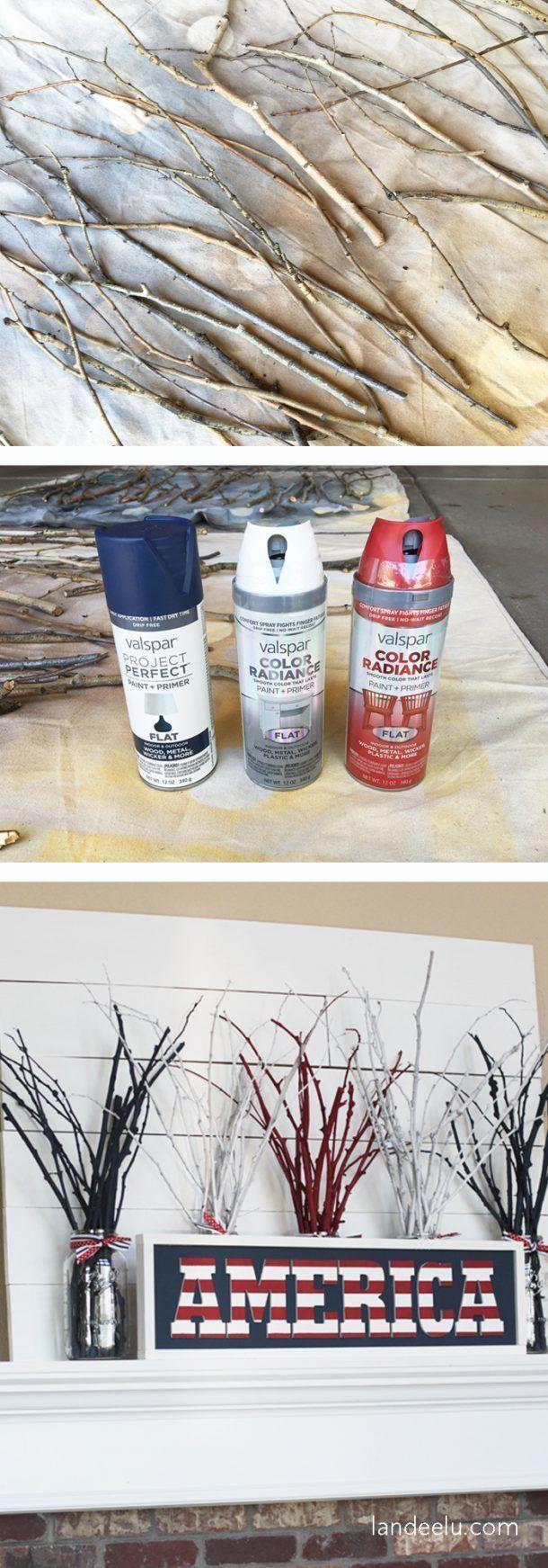 DIY 4th of July Fireworks Mantel - With Stick & Spray Paint - landeelu.com -  DIY 4th of July Firewo...