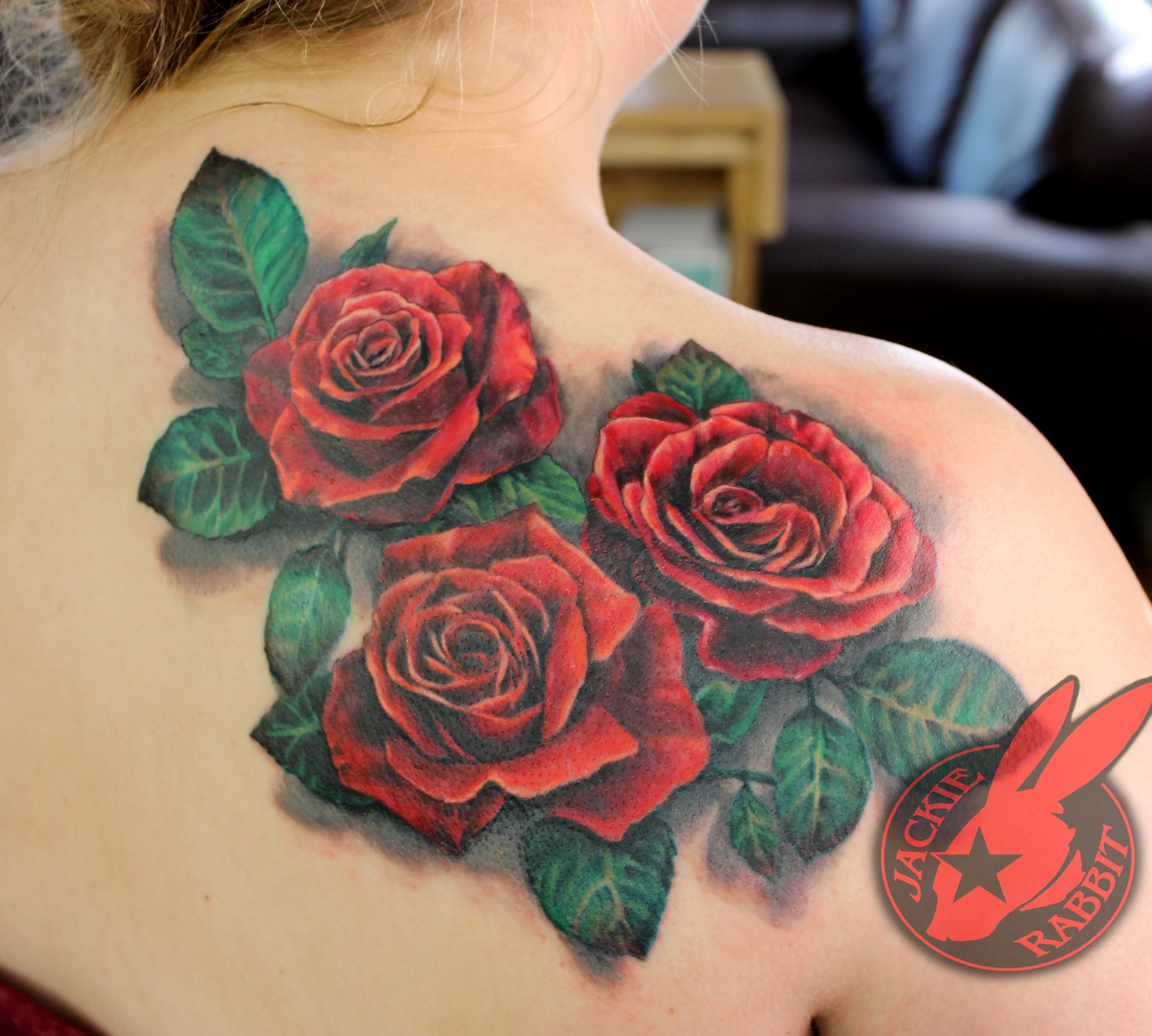 Red Rose Realistic 3d Flower Color Back Tattoo By Jackie Rabbit Custom Tattoo By Jackie Rabbit Eye Of Jade Tattoo 6165 Skywa Rose Tattoos Back Tattoo Tattoos
