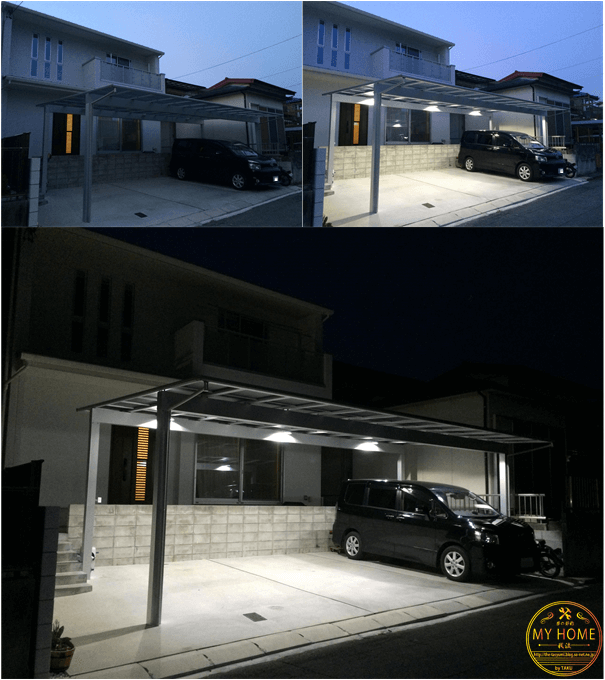 Diy カーポートにled照明を取付る わずか 20 000でこの完成度 カーポート ガレージハウス 照明