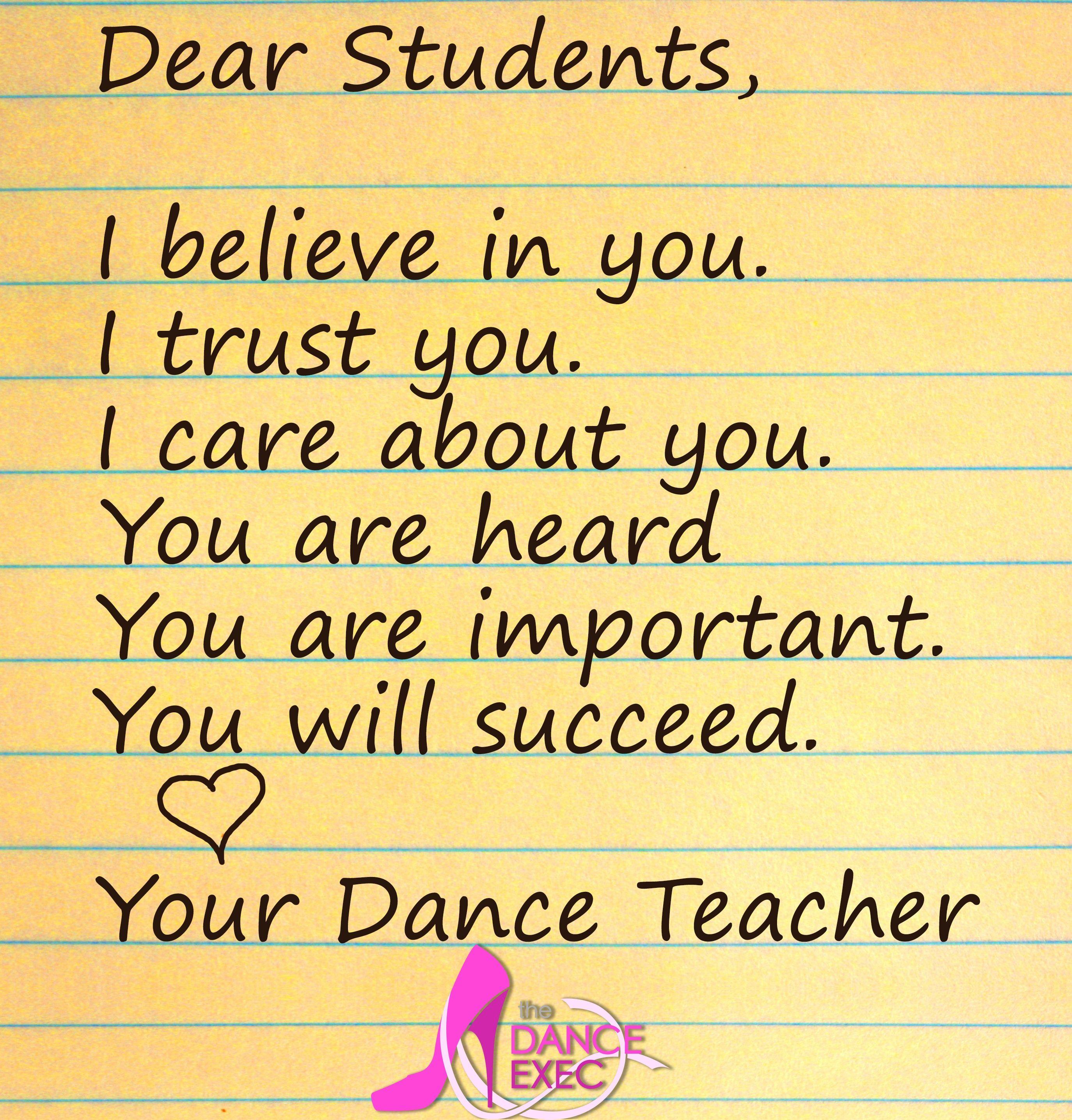 Dance Teachers Believe In Their Students! Www.danceexec