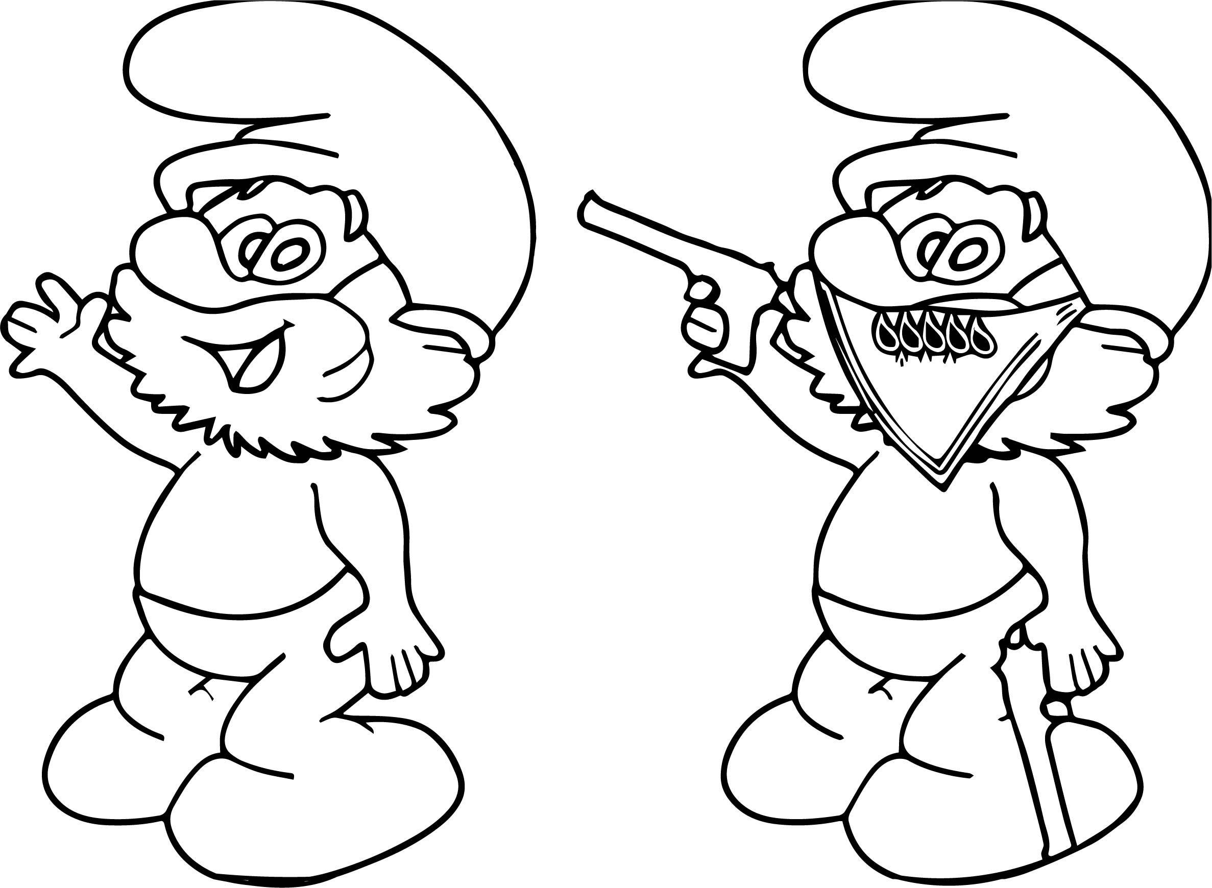 Good Papa Smurf Vs Gang Papa Smurf Coloring Page