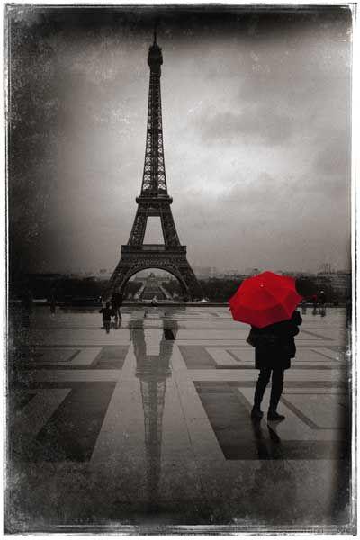 Paris En Noir Et Blanc Tour Eiffel Red Umbrella Paris