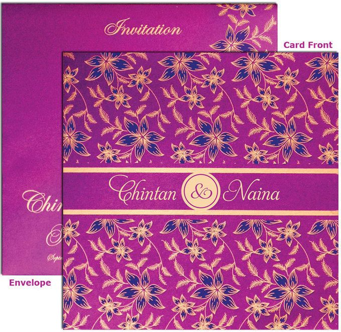Purple Flower Wedding Cards NY-001 Wedding card and Designers - best of invitation cards for wedding price