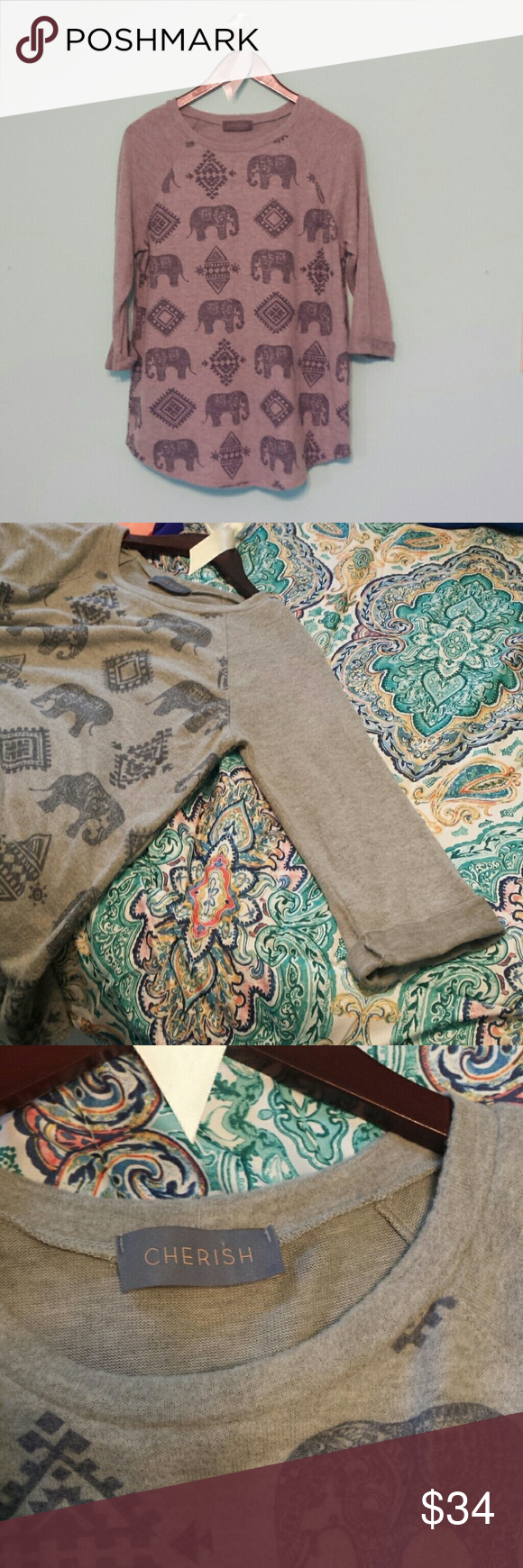 SOFT elephant sweater ONLY WORN ONCE! This sweater is  so soft and comfy! It has 3/4 sleeves and is sure to make for a great option to add to your wardrobe! Grey with Navy elephants Cherish Sweaters Crew & Scoop Necks