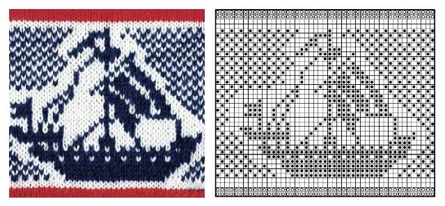 Жаккардовые рисунки и схемы вязания на спицах 482