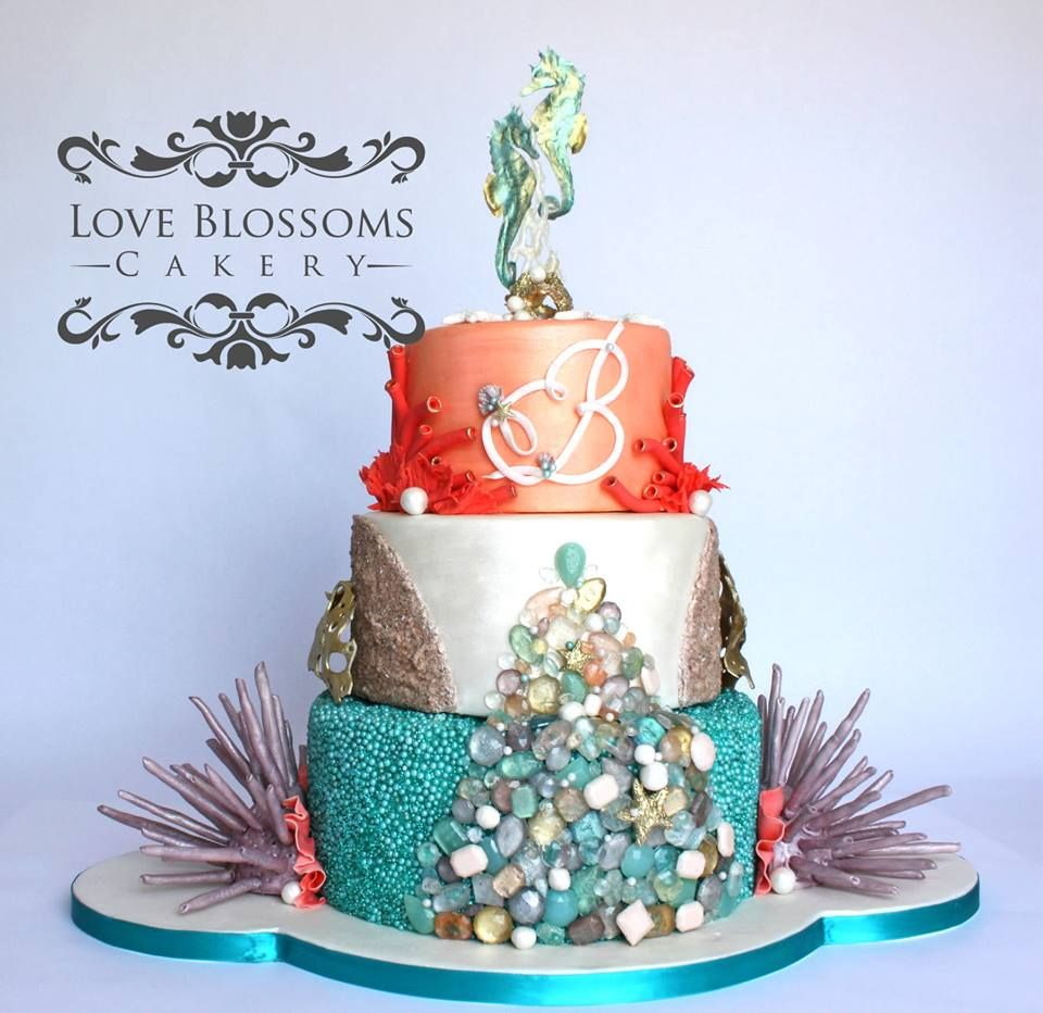 Beach wedding in texas  This is the cake I created with my sea life board Love Blossoms