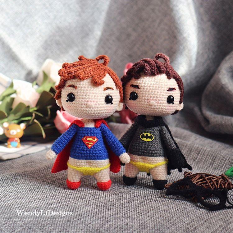 Superman Batman Chibi Characters Chibi Plushie Amigurumi Stuffed ... | 750x750