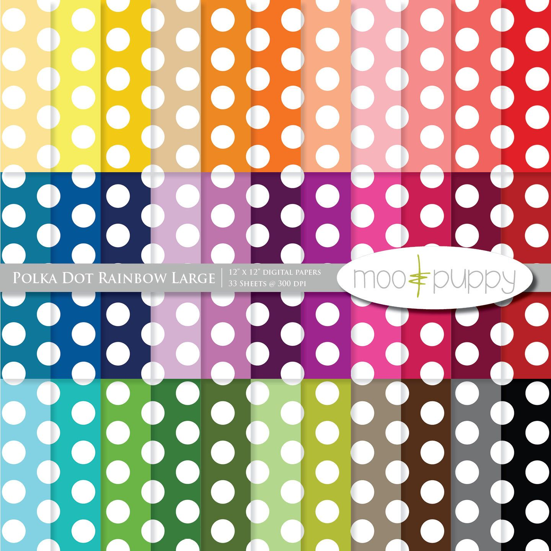 Scrapbook paper etsy - Polka Dot Digital Scrapbook Paper Pack Polka Dot Rainbow Large Instant Download By Mooandpuppy On Etsy