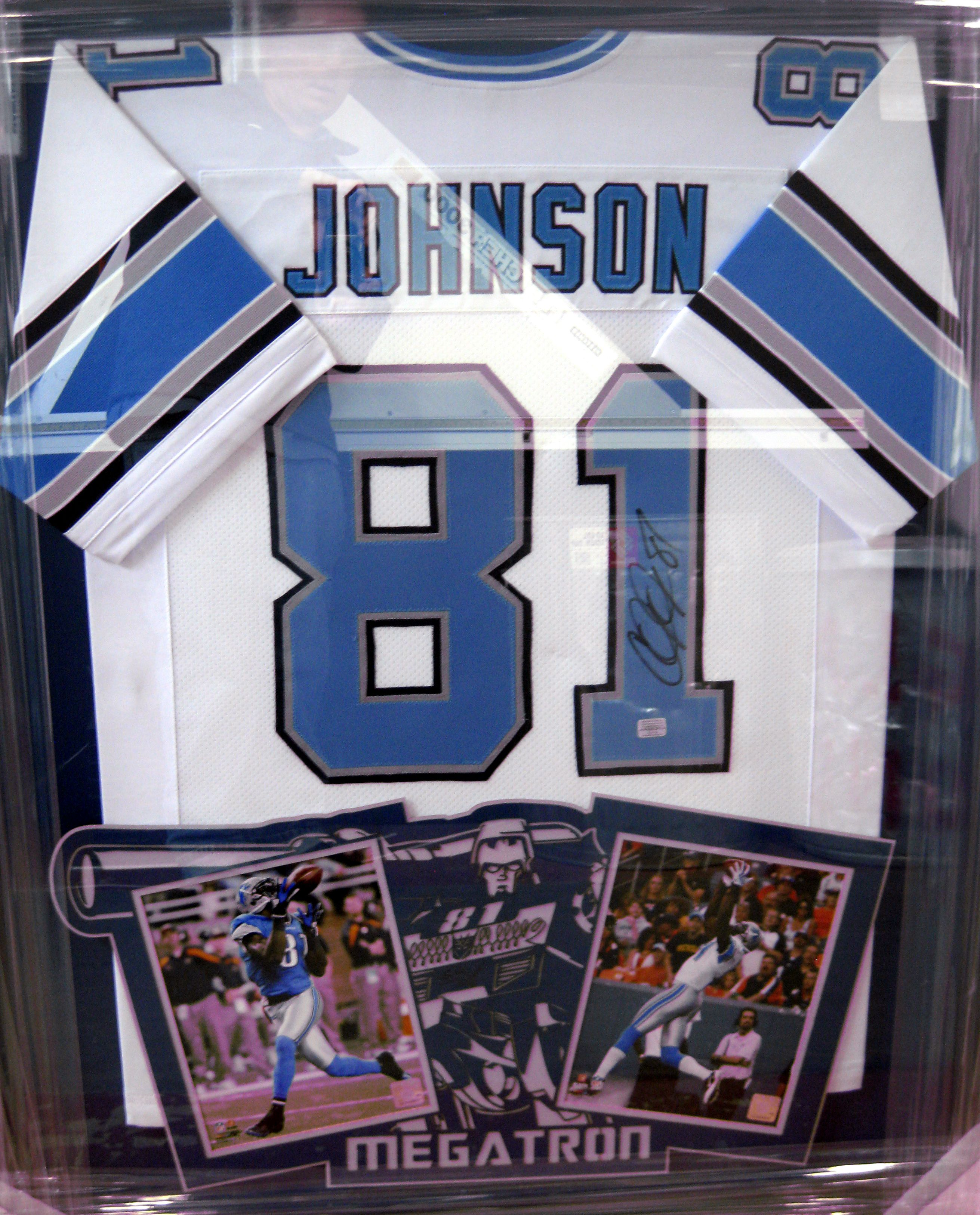 Signed Calvin Johnson framed jersey with two 8x10s in a custom laser ...