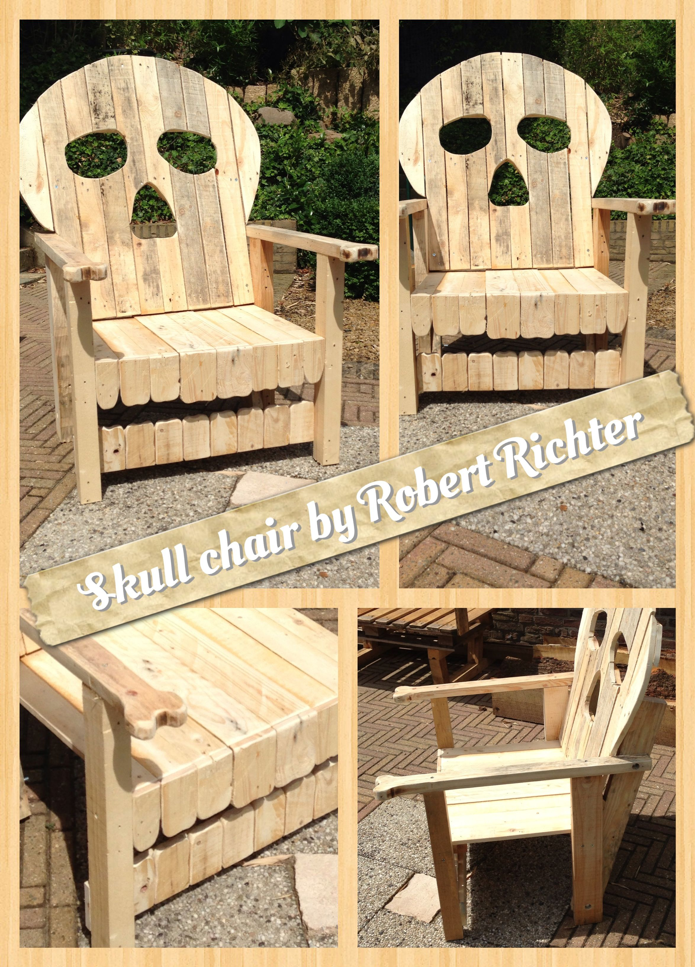 Skull Chair, With Teeth And Bones As Armrests. Made Out Of Used Pallets And