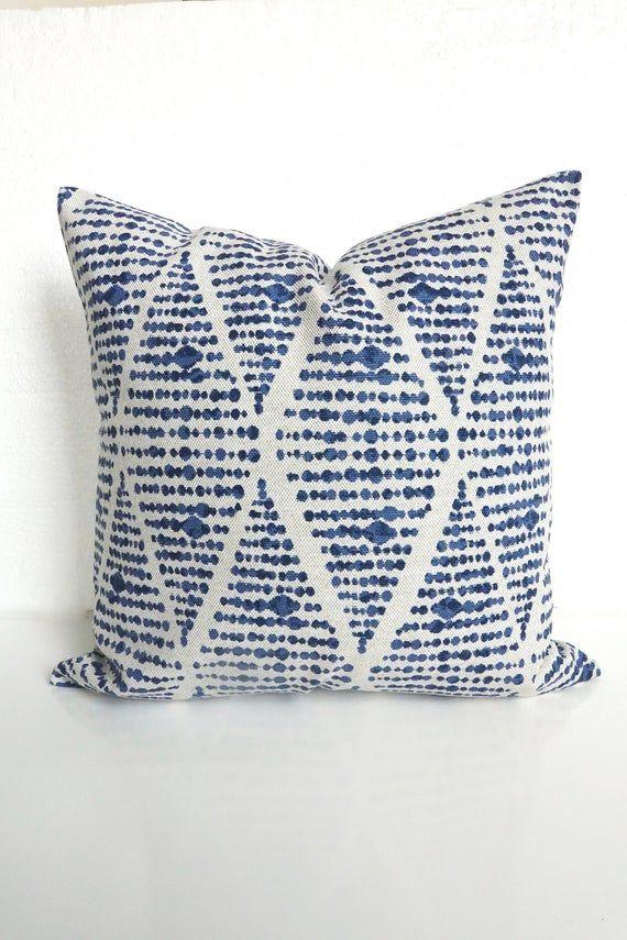 BLUE PILLOWS Blue Throw Pillow Covers Flax Mud Cloth Pillows Blue Throw Pillow Covers Tribal Pillows Farmhouse Boho Pillows