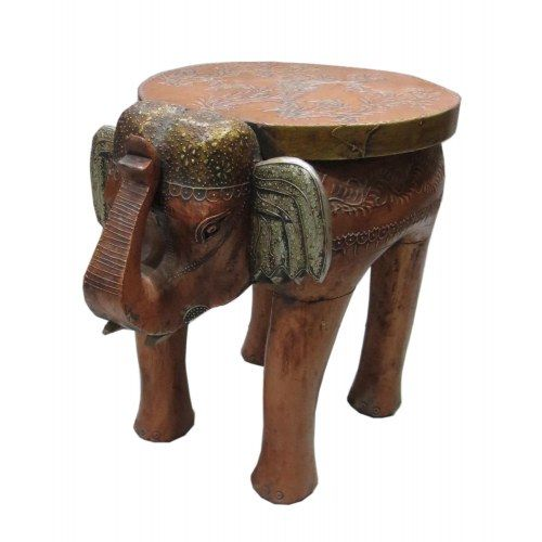 WOODEN ANTIQUE LOOK ELEPHANT SIDE TABLE/STOOL HAND CARVED IN INDIAN STYLE