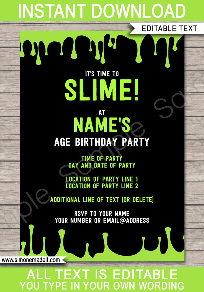 Slime Party Invitations Template Green Party Invite Template Birthday Party Invitations Free Slime Party