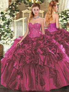 4dbaa79b61d Burgundy Ball Gowns Sweetheart Sleeveless Organza Floor Length Lace Up  Beading and Ruffles Quinceanera Gown