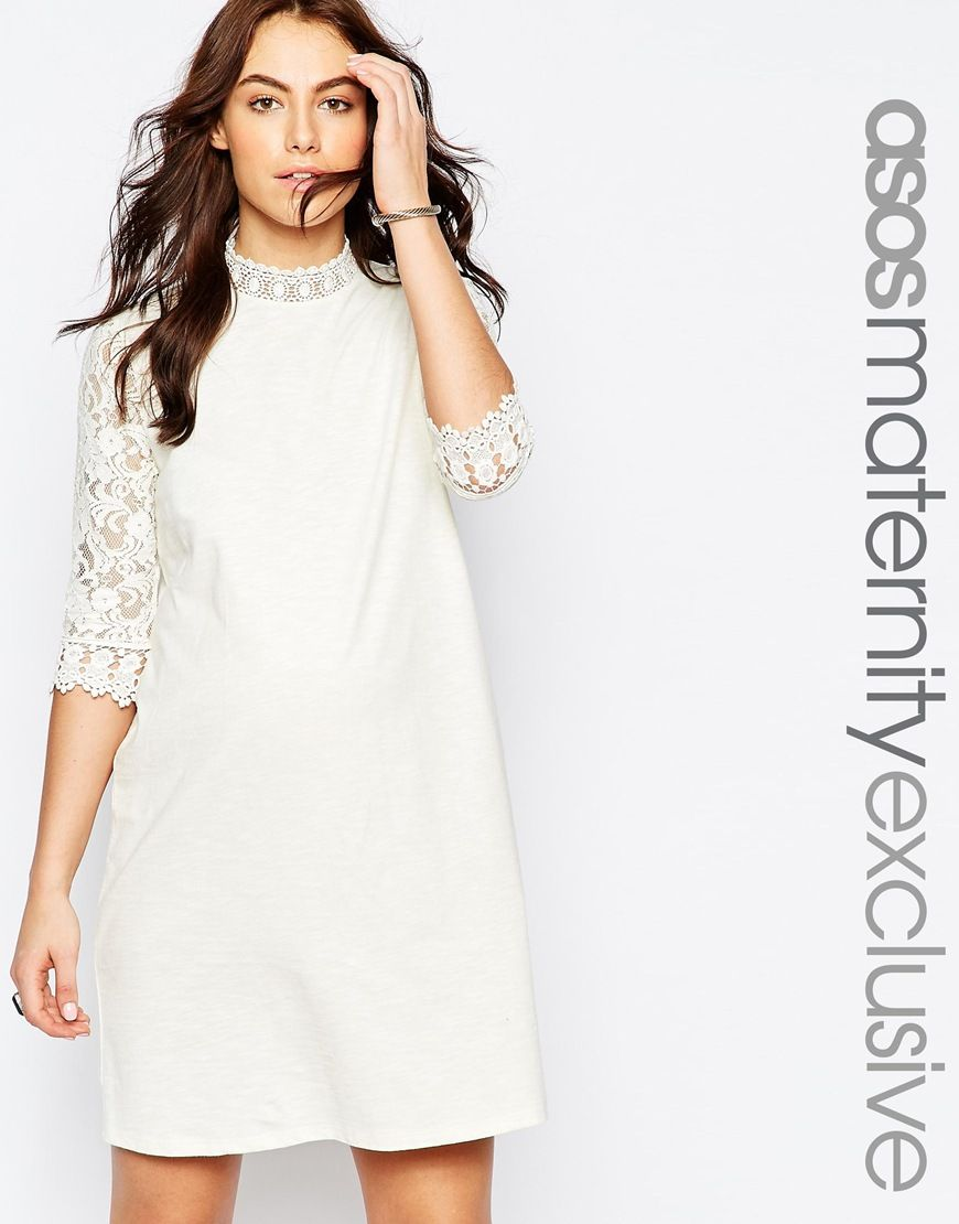 Image 1 of asos maternity shift dress with lace sleeve maternity image 1 of asos maternity shift dress with lace sleeve ombrellifo Choice Image