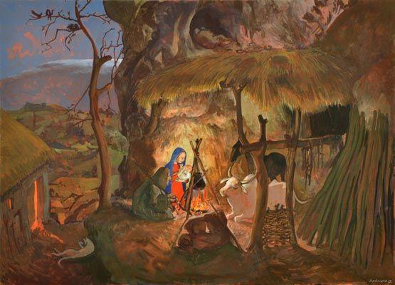 Presepio, by Barnaby Fitzgerald, egg tempera on panel
