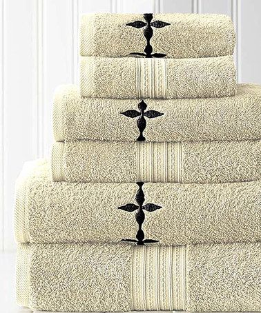 Loving this Opal Valerie Jacquard Embroidered Towel Set on #zulily! #zulilyfinds