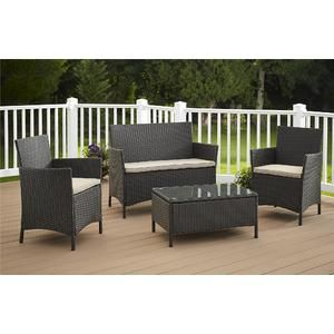 Jamaica 4pc Resin Wicker Patio Seating Set Multiple Colors   Kmart