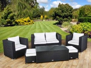 Ascot 2 Seater Rattan Garden Sofa Set In Black And Vanilla Garden Sofa Garden Sofa Set Outdoor Sofa Sets