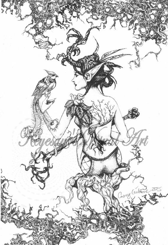 adult fantasy coloring page digital download digi print stamp elven druidess in haunted forest