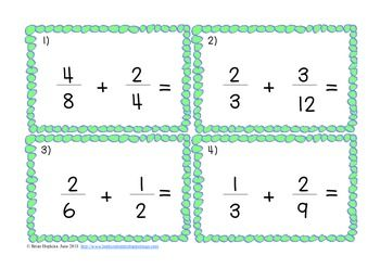 FREE Add and Subtract Fractions with Unlike Denominators Tasks Cards ...