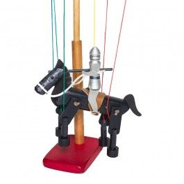 Knight on Horseback marionette with display stand. Made in Maine. An heirloom-quality wooden toy! From Bella Luna Toys. $49.95.