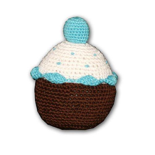 Hip Doggie Organic Cotton Crochet Cupcake Dog Toy - Blue