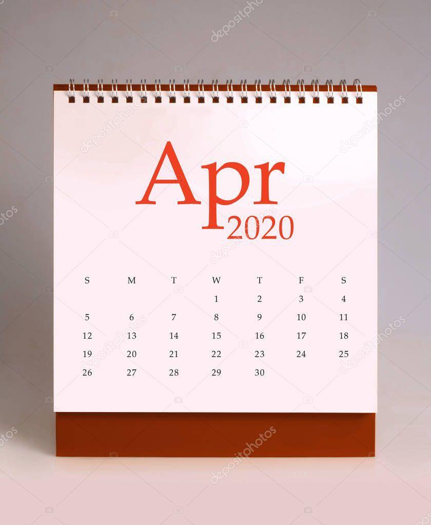 Simple Desk Calendar 2020 April Stock Photo Ad Calendar