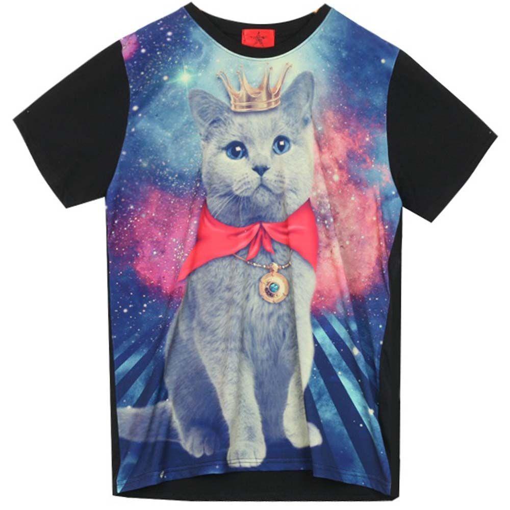 Galaxy T Shirt With Cat Graphic Print Funky Rock Punk Round Crew Neck Black New Galaxy T Shirt Cat Graphic Galaxy Shirt