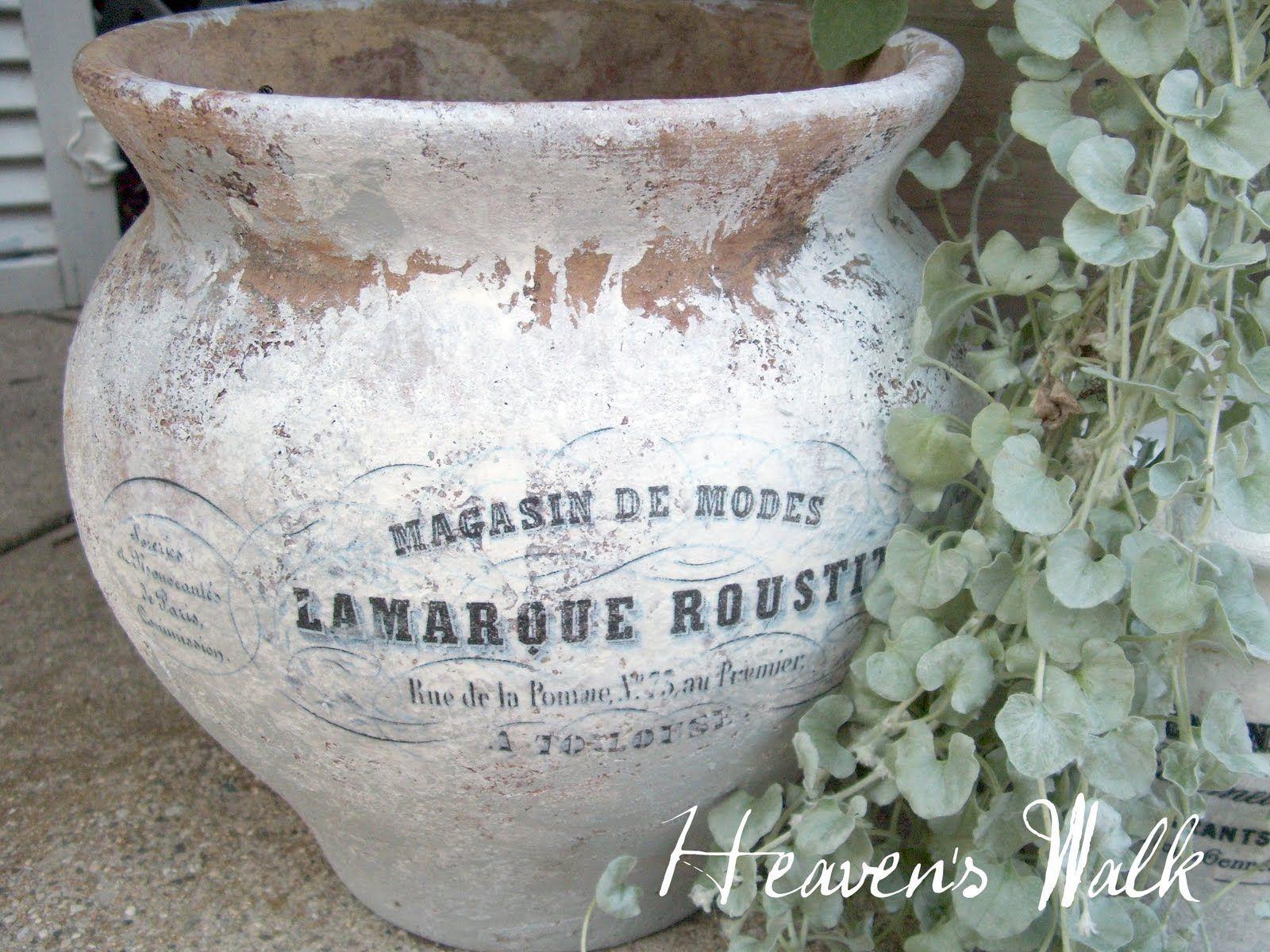 Whitewashed French Inspired Terra Cotta Pot