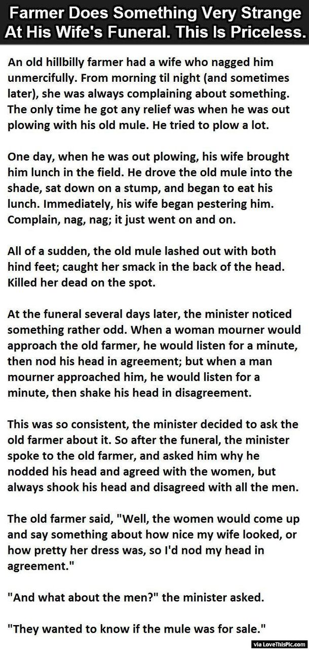 Farmer Does Something Very Strange At His Wifes Funeral. This Is Priceless