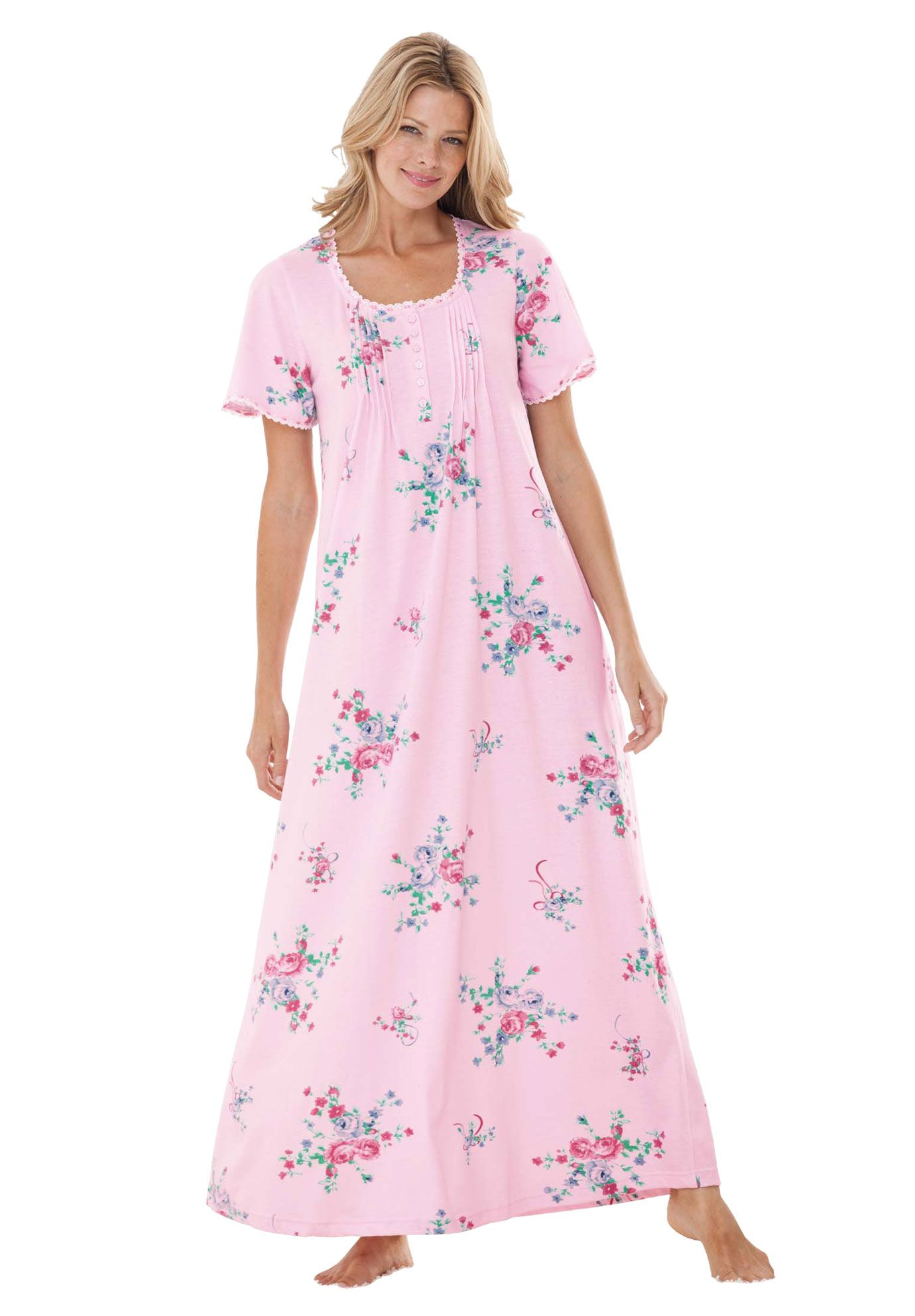 Pintucked floral long gown by Only Necessities® Plus