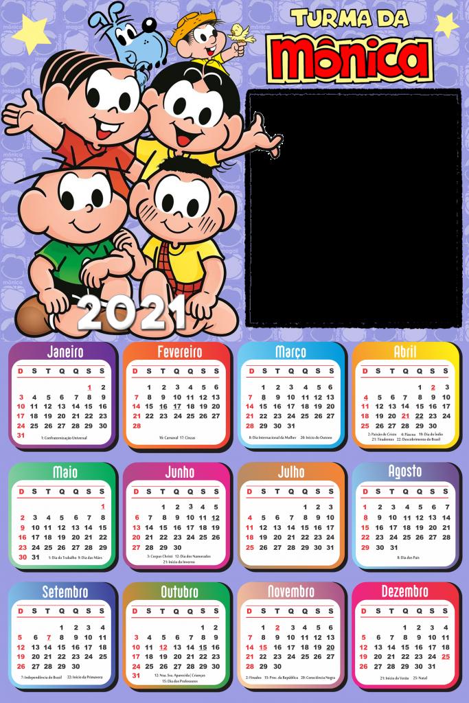 Calendário 2021 PNG Infantil para Foto Montagem | Imagem ...