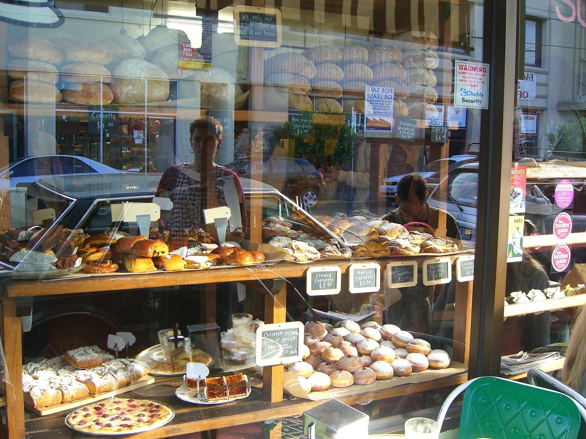 Bakery window displays san francisco california