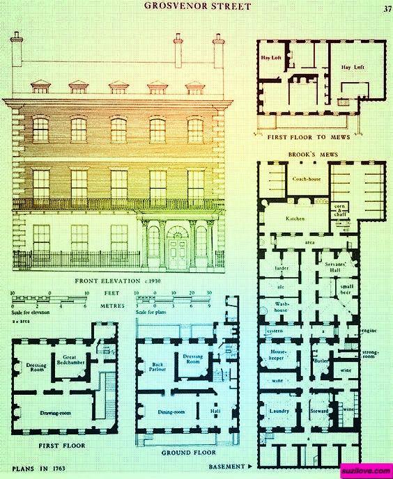 1763 Plan Of Grosvenor Street London Uk Suzilove Com Georgian