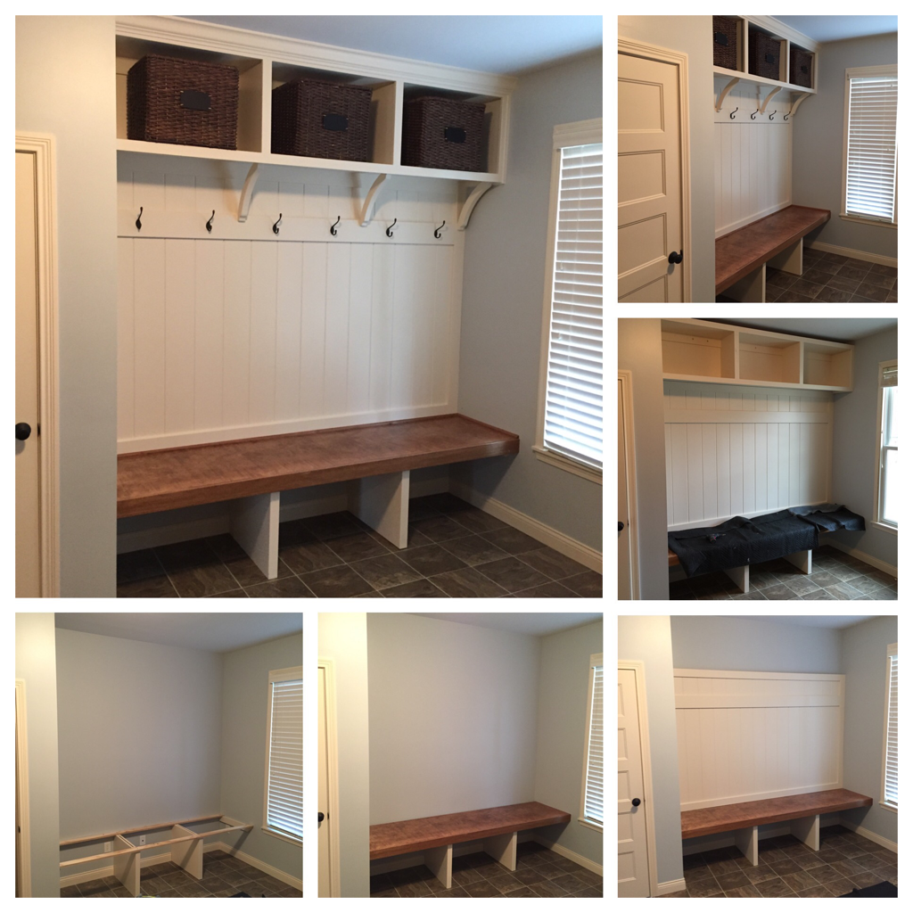 Custom Mudroom bench with open shoe storage