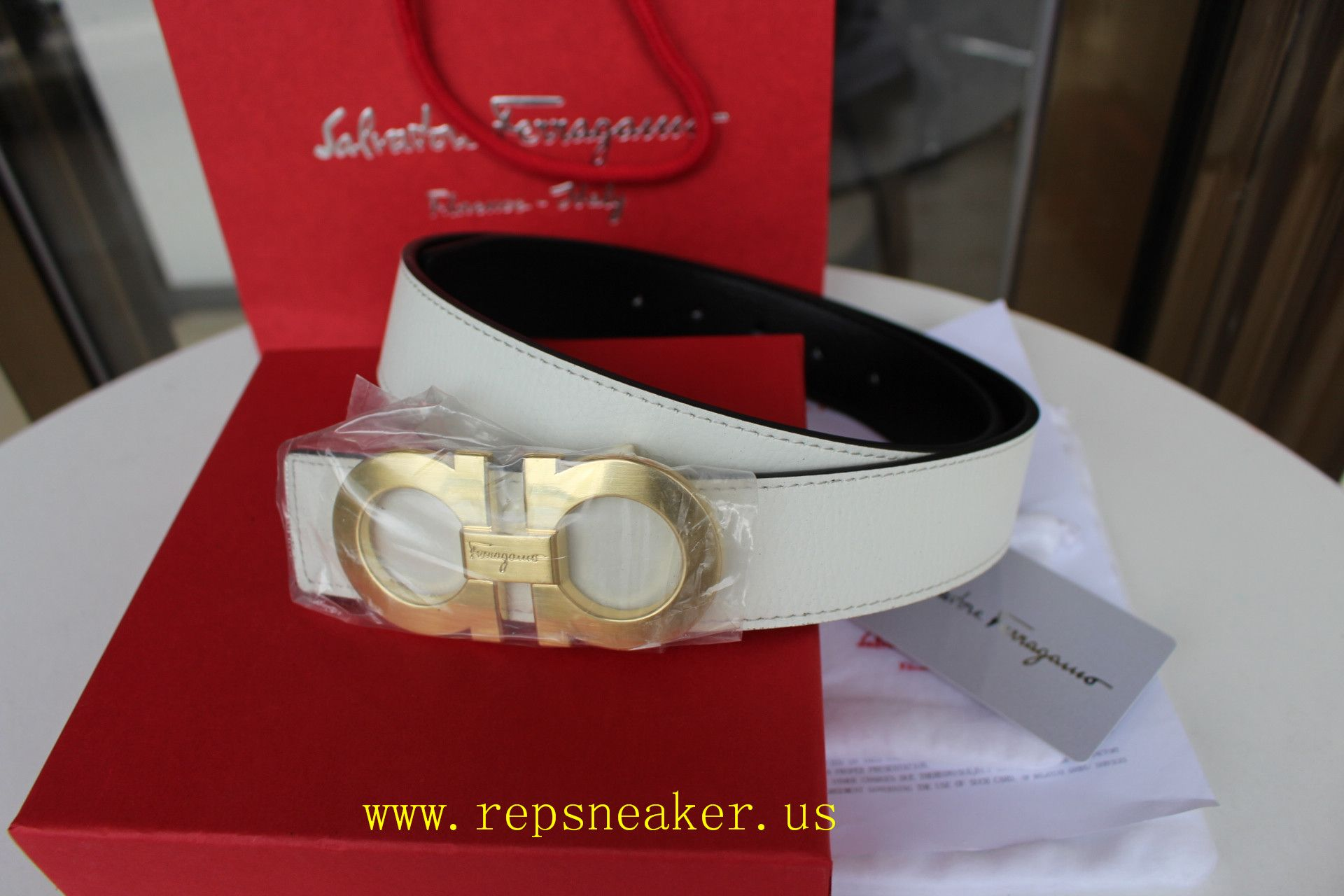 White And Red Ferragamo Belt