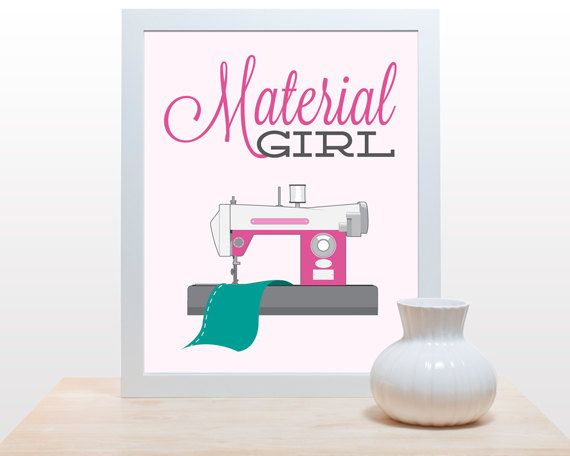 Sewing Craft Print Material Poster Minimal Art Retro Room Wall Decor Fabric Cloth Machine Pink Teal Y Madonna