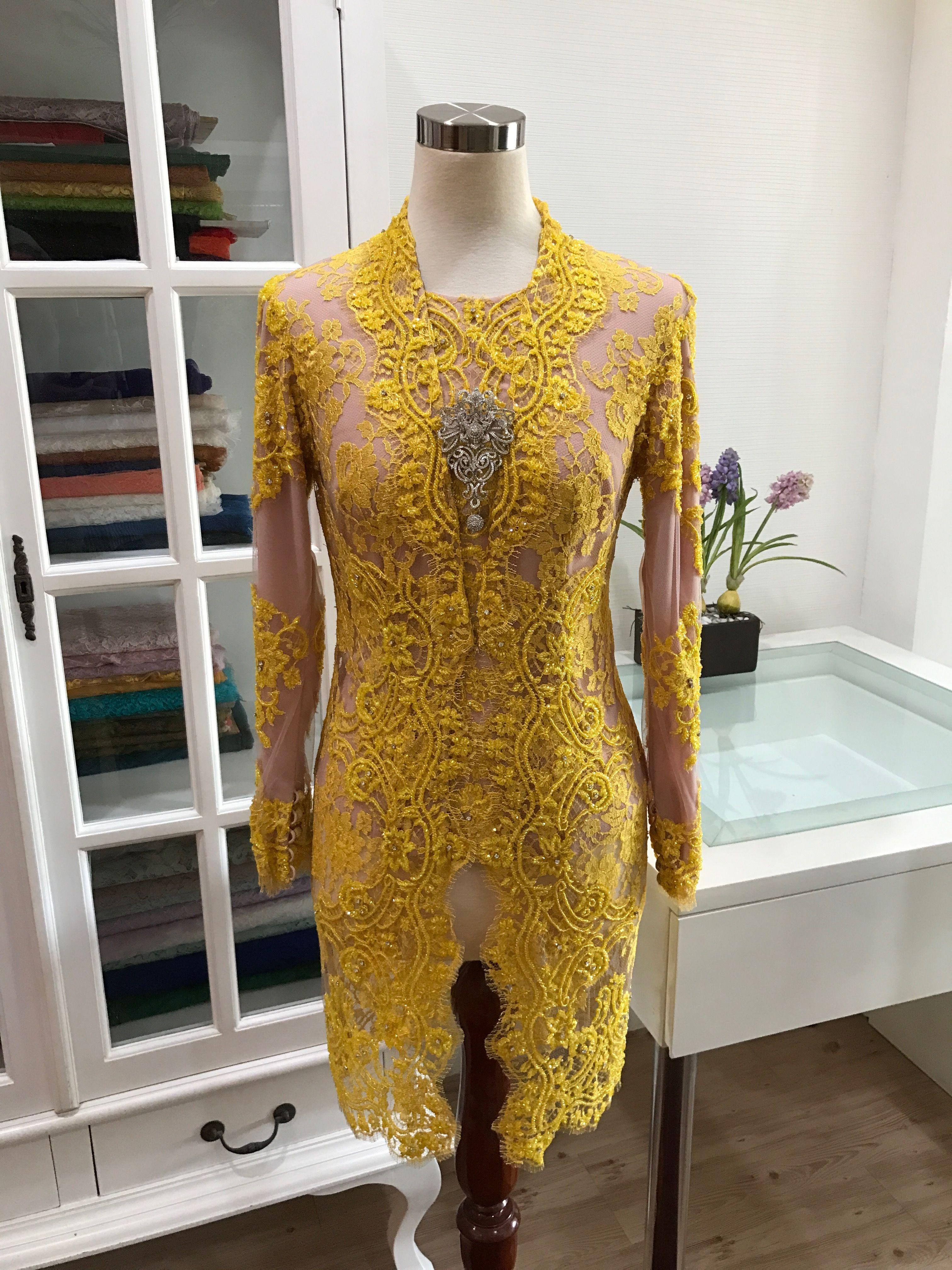 Muzułmańska Kebaya Kebaya Brokat Moda Muzułmańska Indonezja Tajlandia Bluza Å ³Å'ty