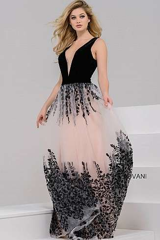 58f46471f4 Nude and Black Plunging Neckline Floral Dress 42420