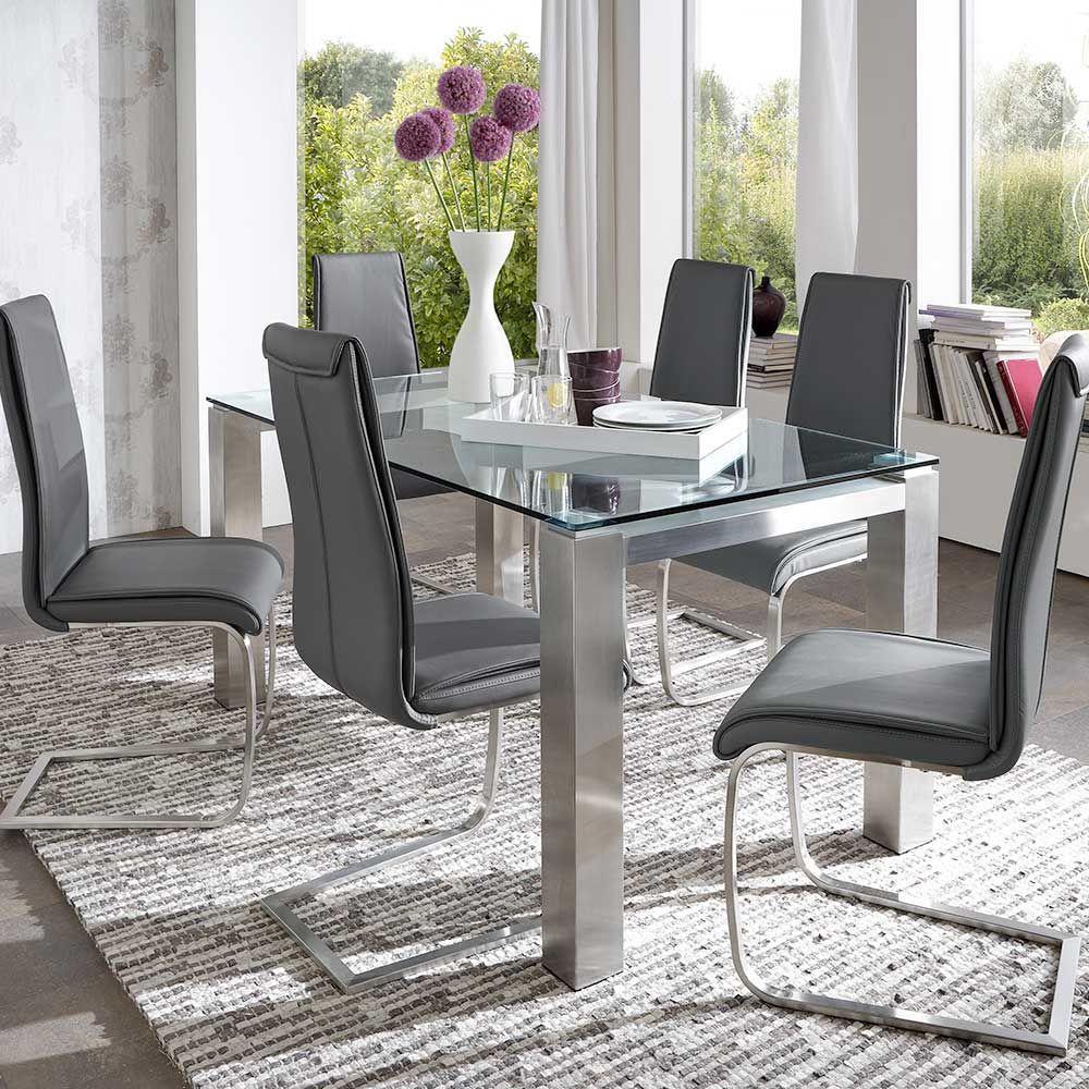 Design Esstisch Mit Glasplatte Eisen Gebürstet Küchentisch,esszimmertisch ,glastisch,eßtisch,esstisch,