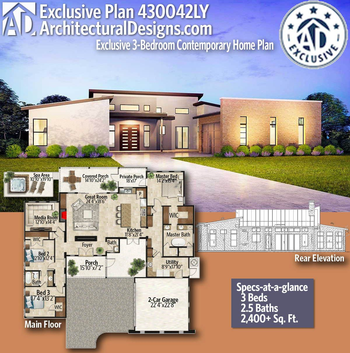Plan 430042ly Exclusive 3 Bedroom Contemporary Home Plan Contemporary House Plans House Plans Small House Design Plans